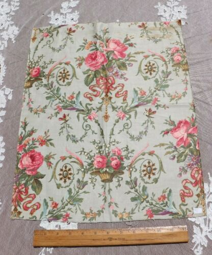 Antique c1860 French Pink Roses,Baskets,Bows On Blue Grnd Cotton Fabric~19.5X16