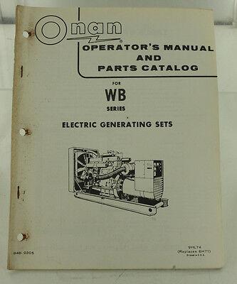 Vintage Onan Wb Series Generator Operators Manual Parts Catalog