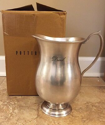 NEW Pottery Barn Antique Silver Sentiment DRINK Pitcher