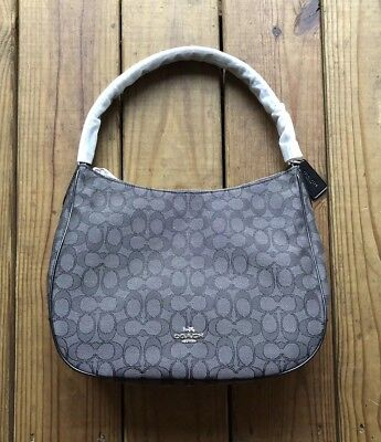 NWT Coach signature jacquard canvas zip shoulder bag purse black smoke    black 19b182a51949b