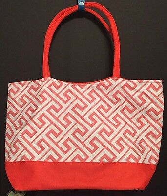 Wedding Shopping (Coral And White Tote Beach Bag Wedding Shopping Travel Personalized)