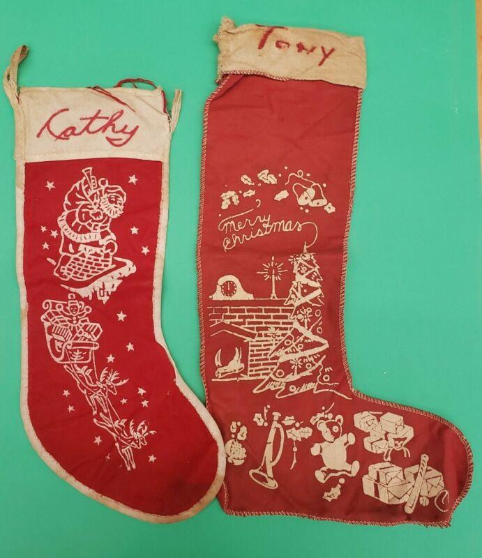 "Vintage 50s lot pair Flannel Felt Stenciled Christmas Stocking Santa 17"""