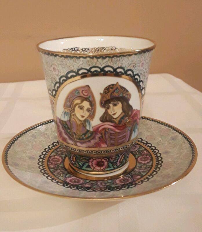 """NEW Lomonosov Russian Porcelain Bone China Cup Saucer Set """"Parting"""" RARE!"""