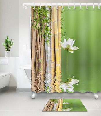 Fabric Shower Curtain Set Waterproof Polyester Sheer Spring Spa Bamboo Water (Spa Fabric Shower)