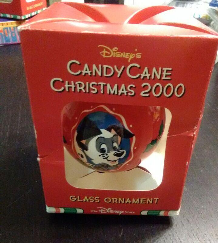 Disney Candy Cane Christmas 2000 101 Dalmatians Glass Bulb Ornament
