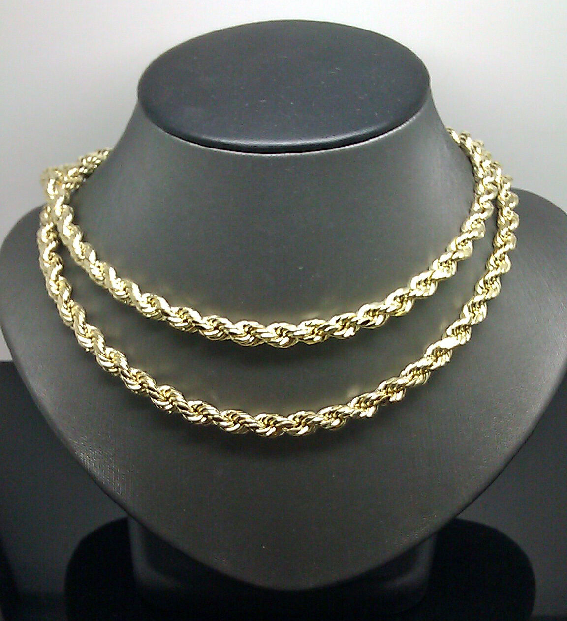 10k Gold Rope Chain 2 - 8 mm 16 Inch-30 Inch men women Necklace Diamond cut REAL 2