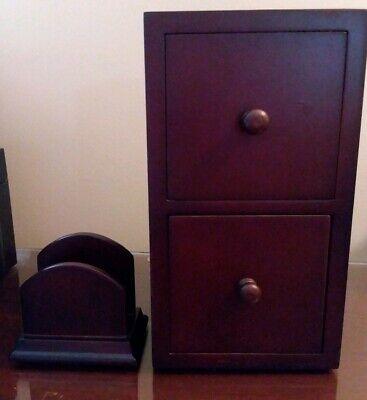Desk Accessories. Wooden 2 Drawer Storage And Card Holder