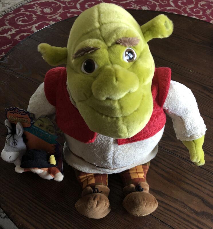 Macys 2007 Shrek Special Edition Plush Doll w/Donkey & Puss Finger Puppets Toy