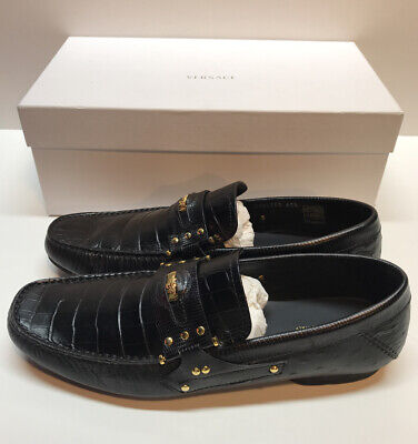 Versace Men's Loafers Black Crocodile W/ Gold Medusa & Accents Dress Shoes 9.5