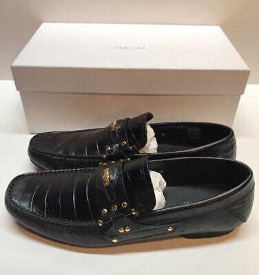 Versace Men's Loafers Black Crocodile W/ Gold Medusa & Accents Dress Shoes 9.5