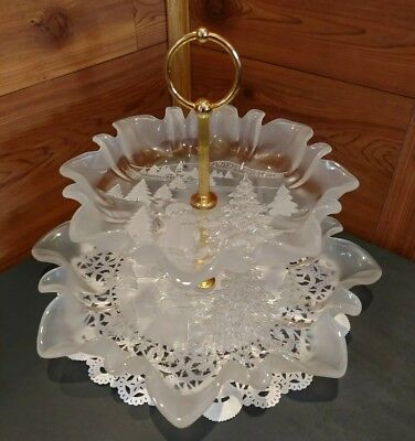 MIKASA 2 TIERED CHRISTMAS FROSTED & ENGRAVED 3-D GLASS SERVING TRAY