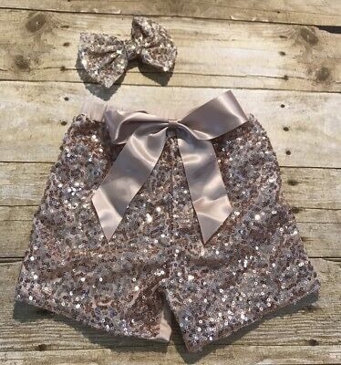 Girls Gold Sequin Shorts With Matching Now Size 6-7 New boutique Sparkle](Girls Gold Sequin Shorts)