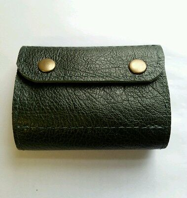 (.22 hornet/17HMR/17 Hornet Bullet wallet. Holds 16.Green real leather with studs)