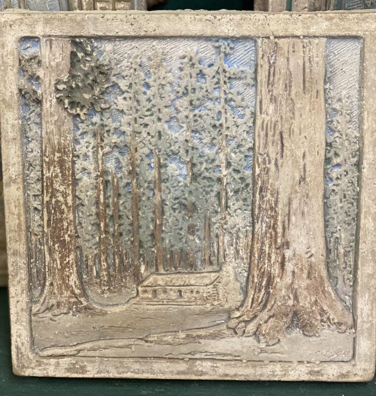 Old Claycraft Tile Yosemite Trees Batchelder Era