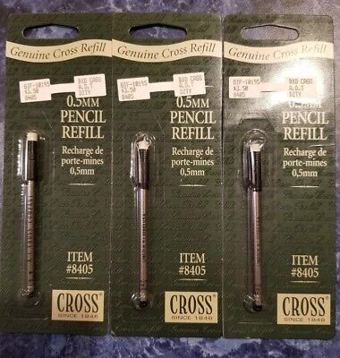 Cross 0.5mm Pencil Lead Refill Cartridge With Eraser 8405 - Lot Of 3