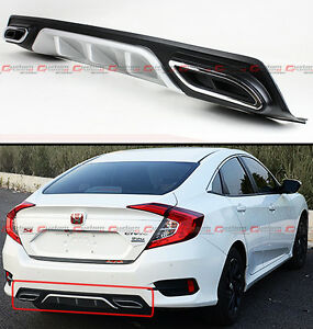 For 2016-2018 Honda Civic Silver Rear Bumper Diffuser W/ Decorative Exhaust Tips