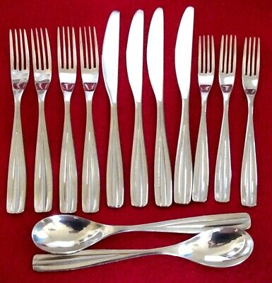 Forks And Spoons (Studio William PAPAYA SAND Stainless Lot of 13 Pieces Knives Forks and)