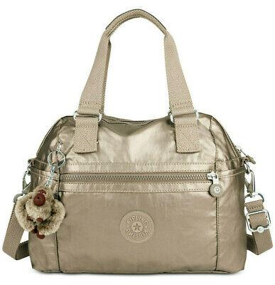 Kipling Cora Metallic Satchel Tote Handbag Orig $119 Pewter