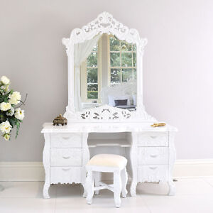 French rococo dressing table mirror white with stool for French white dressing table