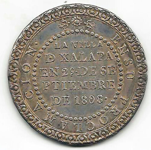 Fernando Vii 4 Reales 1808 Currency / Medal Proclamation Xalapa @ Uncirculated