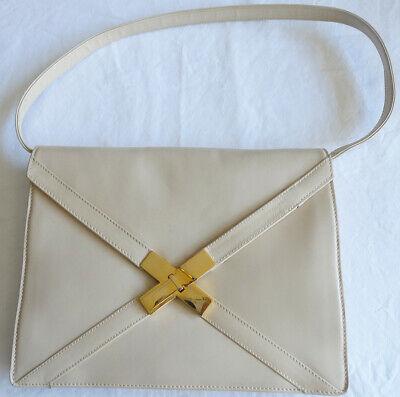Mark Cross Beige Leather Envelope Purse Clutch w/ Removable Strap + Brass Trim