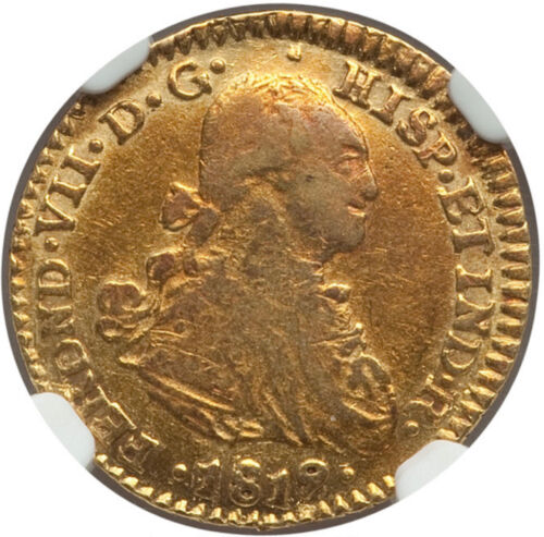 1819/8 NR-JF Colombia Ferdinand VII gold Escudo NGC XF45 VERY RARE OVERDATE