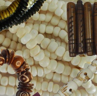 Hand Carved Genuine Bone Beads Rondells Skull Heishi Hair Pipe & Focal's U-Pick