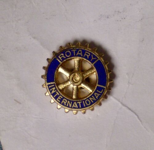 Vintage Rotary International Club Member Small Lapel Pin Gold Blue Wheel