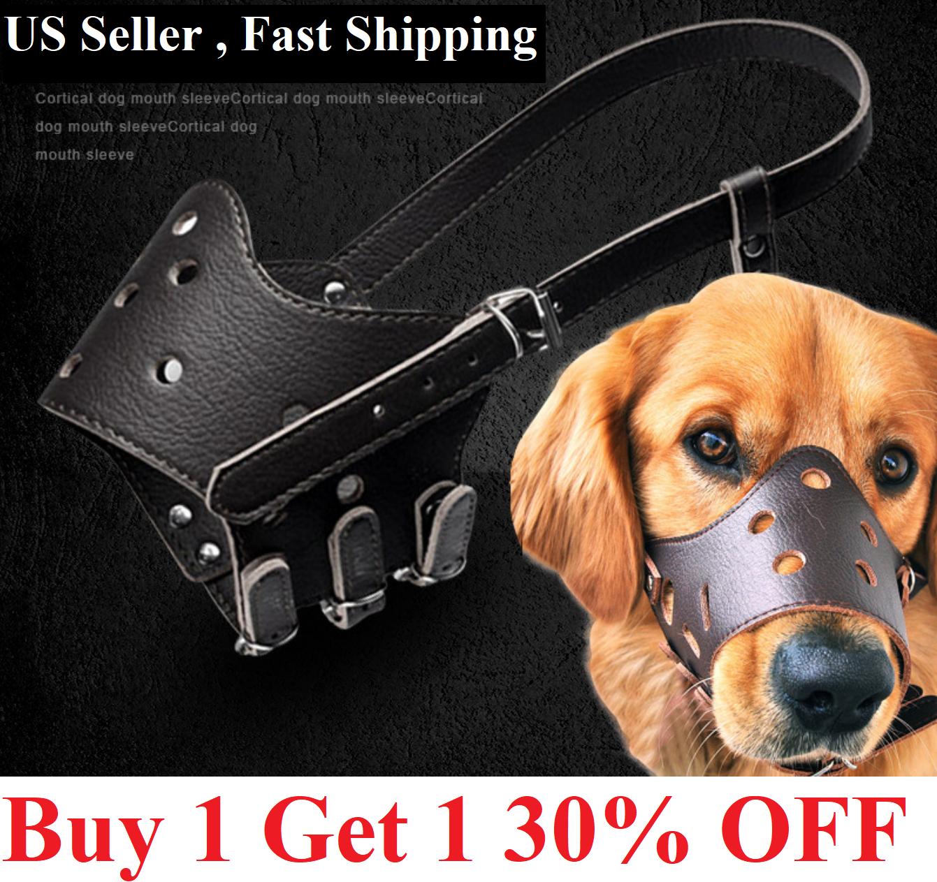 US Adjustable Anti-Biting Pet Dog Soft PU Leather Muzzles Mouth Mesh Cover Masks Dog Supplies