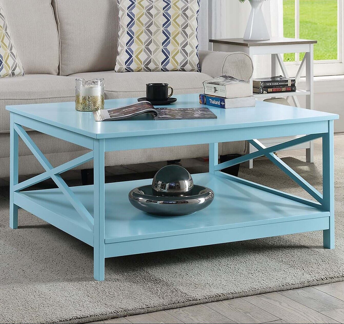 Large Square Cocktail Coffee Table W Lower Shelf Living Room Display Storage Ebay