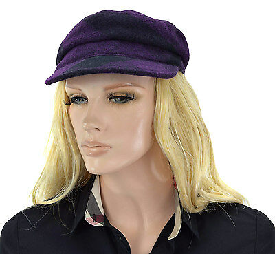 $400 BURBERRY Brit Purple Check WOOL Newsboy Cabbie Peak Cap Women's Hat Size M