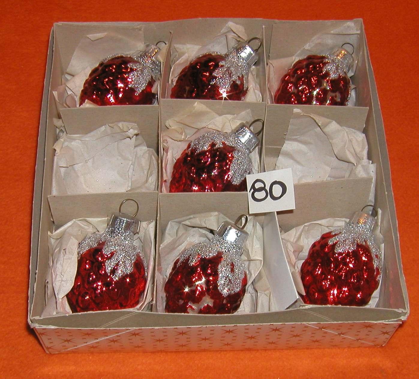 alter Christbaumschmuck Lauscha DDR 7 x Formteil Kugel Weihnachtsbaum CBS (Ku80)