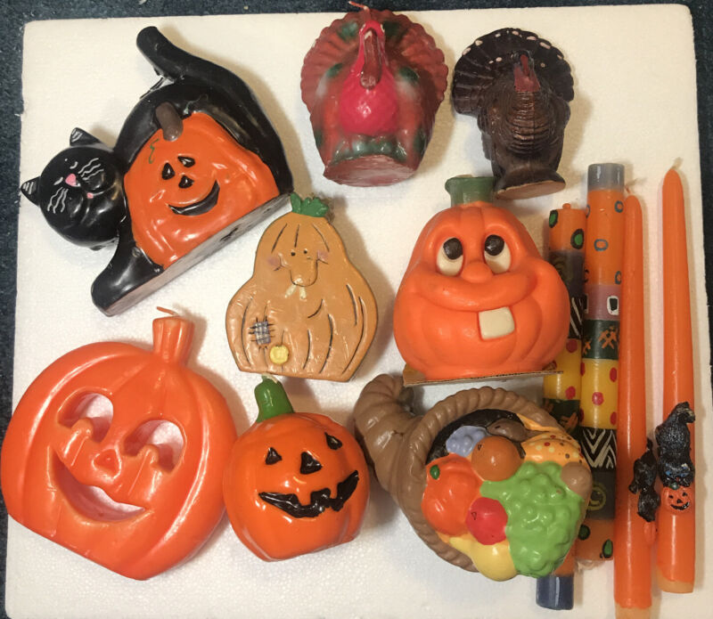 Vintage Halloween And Thanksgiving Candle Lot Of 12 Pumpkin Black Cat, Turkey