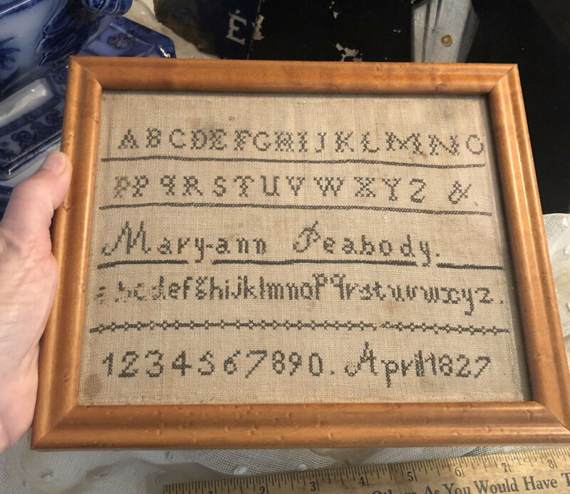 Antique Early Hand Made Needle Point Sampler Framed Mary Ann Peabody 1827