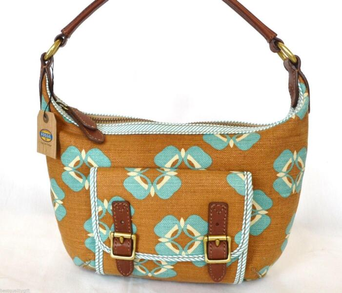 FOSSIL TATE SMALL FLORAL CANVAS LEATHER HOBO BAG