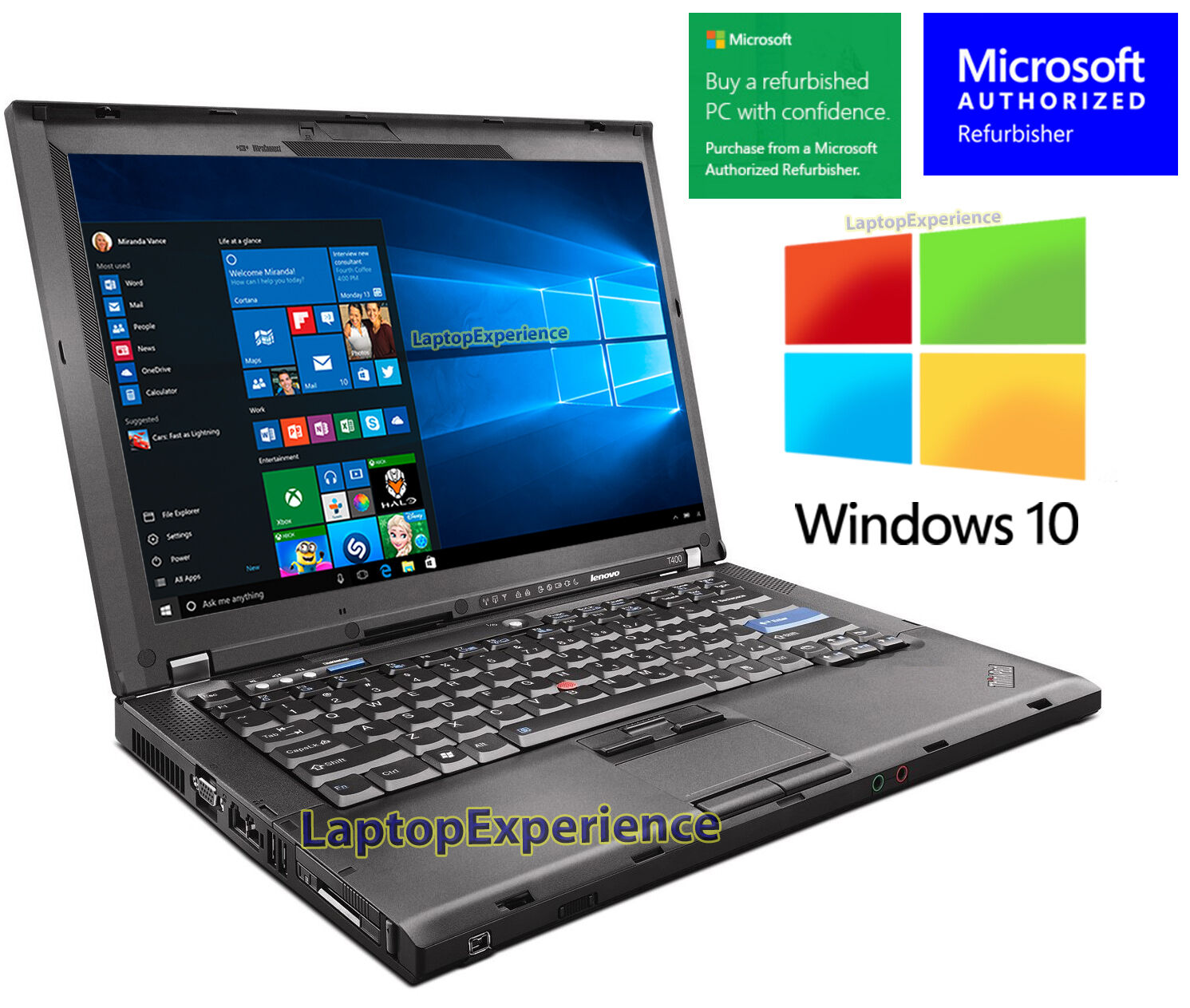 Laptop Windows - IBM LENOVO LAPTOP THINKPAD T400 WINDOWS 10 WIN DVDRW WiFi CORE 2 DUO 2.26GHz PC