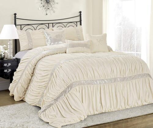 HIG 7 PCS Fashion Luxurious Chic Ruched Pleated Comforter Set - Claraite