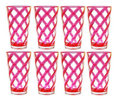 QG 22 oz Clear Neon Pink Helix Acrylic Plastic Iced Tea Cup Tumbler Set of 8 (Clear Pink Plastic Cups)
