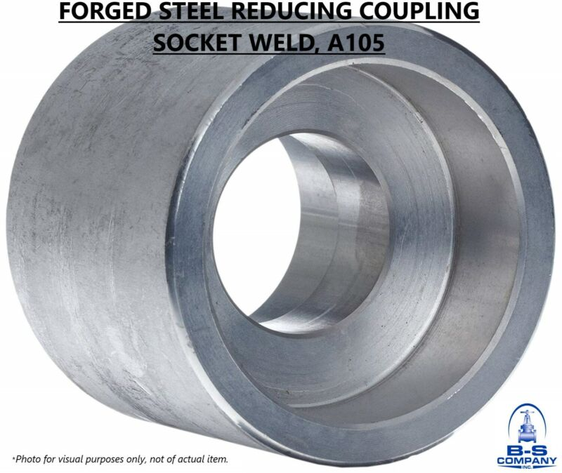 """Forged Steel REDUCING COUPLING 3"""" x 2"""" Socket Weld A105 3000#"""