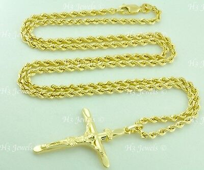 14k solid yellow gold hollow rope chain necklace cross pendant #6741 6.40gr - Cross 24in Necklace