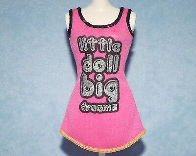 PINK w/ Silver & Black Print Genuine BARBIE Night Gown Sleep Wear w/ Shoes