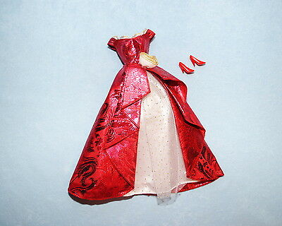 SATINY Ruby Red Long Formal White Lace & Gold Polk-a-Dots BARBIE Formal w/ Heels
