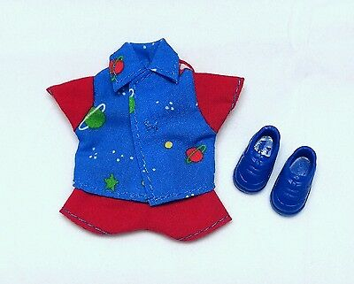 Tommy Ryan doll clothes Planet Celestial print Blue shirt Red shorts + shoes New