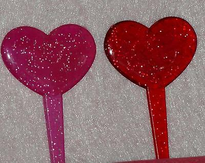 Valentines Heart, Holiday Cupcake Picks, Plastic, 12 count, Red/Pink,Glitter
