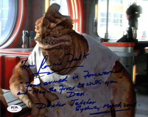 "RON FALK with Funny Quote Signed STAR WARS ""Dexter Jettster"" 8x10 Photo PSA/DNA"