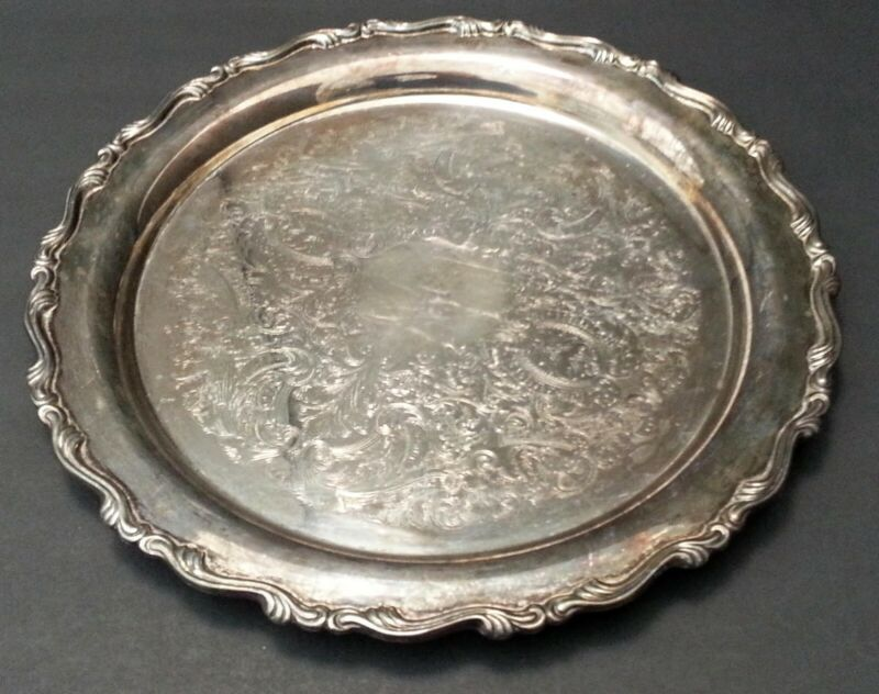 "VTG Silver Plated Round Etched Oneida 12"" Serving Platter Tray Intricate SCROLL"