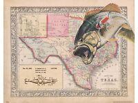 Vintage Fishing Lure Patent Art Print 11x14 Unframed Largemouth Bass Fish LTR09
