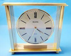 Vintage Bulova Quartz Square Glass Metal Mantel Shelf Clock Old Analog Battery.