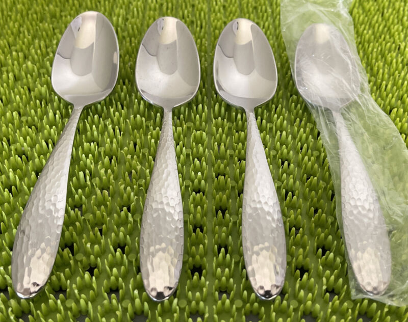 NEW 4 Oneida REYNA Teaspoons Glossy Hammered Stainless Flatware 18/0 China