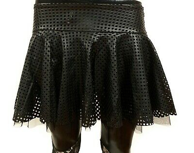 Punk School Girl (Leather Like Fish Stretch School Girl Tartan Pleated Lingerie Fetish Punk Skirt )